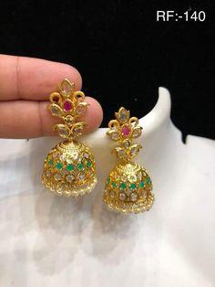 New jhumka designs in gold 1 Gram Gold Jewellery, Gold Jewelry, Jewelry Necklaces, Jhumka Designs, Gold Designs, Gold Light, Discount Jewelry, Gold Earrings, Chain