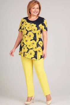 Костюм Asoliya 1174 желтый Big Dresses, Lovely Dresses, Modest Dresses, Simple Dresses, Plus Size Dresses, Casual Dresses, Fashion Pants, Fashion Outfits, Lace Dress Styles