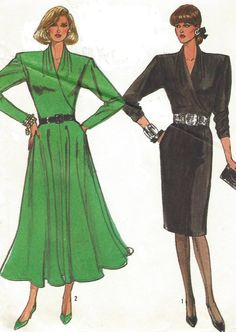 80s Plus Size Simplicity Sewing Pattern 8167 Womens Surplice Bodice Dress Flared or Slim Skirt Size 18 20 Bust 40 42 Uncut by CloesCloset on Etsy