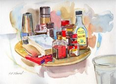 """""""In Front of Me #2""""  watercolor on heavy paper - 9 x 12 inches - available."""