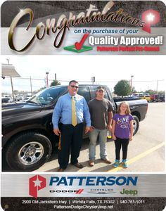 Congratulations Weston Hill on your quality pre-owned vehicle! - From David Reece at Patterson Dodge Chrysler Jeep Ram