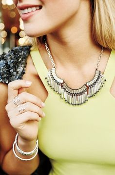 Twilight Fringe Necklace - available 10/8 at www.stelladot.com/sarahtaliaferro - Neutral sparkle and silver fringe form this carefree statement necklace. Add some silver movement to your wardrobe!