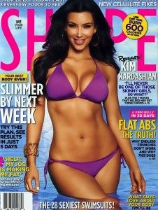 a523ab4b55a55 Kim Kardashian on the June 2010 Shape magazine cover.