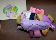 sewing softies from children's drawings