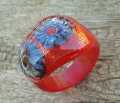lampworking ring with murrini