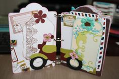 handmade mini scrapbook album using prima marketing road trip paper collection Prima Marketing, Scrapbook Albums, Mini Albums, Road Trip, Paper, Handmade, Collection, Hand Made, Scrapbooks