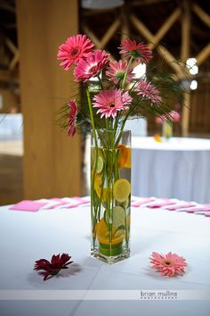 Pretty Gerber Daisy centerpiece.... Similar to the other one... really love the citrus to water the flowers!