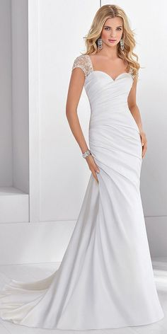 Modest Tulle & Satin Sweetheart Neckline Sheath/Column Wedding Dress With Beaded Embroidery #weddingdress