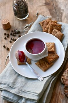 Chicken Liver Patè with Red Currant Jelly and Mushroom Blue Cheese Crackers