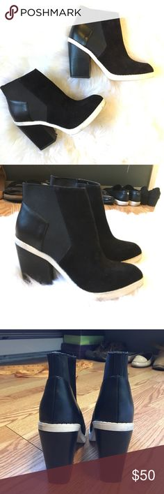 """Black booties Also black booties. In perfect condition. Size 7.5. 3.5"""" heel Aldo Shoes Ankle Boots & Booties"""