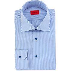 Isaia Mini-Bengal Stripe Dress Shirt (25.545 RUB) ❤ liked on Polyvore featuring men's fashion, men's clothing, men's shirts, men's dress shirts, men's spread collar dress shirts, mens cotton dress shirts, mens cotton shirts and mens dress shirts