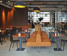 COFFEE-BAR INTEROIR by BLOK. Industrial and contemporary Interior for a new bar in Eindhoven. With beautiful acoustic walls, cognac coloured handmade benches and design lamps #coffeebar #interior #contemporary #restaurant ------------- INTERIEUR KOFFIEBAR van BLOK. Industrieel en tijdloos interieur voor een nieuwe bar in Eindhoven, met sfeervolle akoestische wanden, handgemaakt leren banken en mooie verlichting #design #interieur #koffiebar #tijdloos