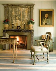 fireplace mantel -