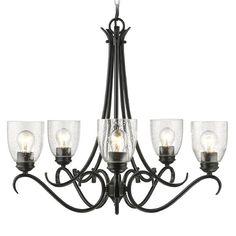 Seeded Glass Chandelier Black Golden Lighting | 8001-5 BLK-SD | Destination Lighting