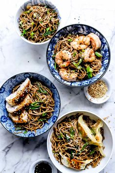 This Japanese soba noodle recipe makes a simple Asian side dish or easy main meal that can be served hot or cold, and is on the table in 20 minutes or less. Seafood Recipes, Vegetarian Recipes, Healthy Recipes, Noodle Recipes, Simple Recipes, Healthy Meals, Healthy Food, Easy Meals, Soba Recipe