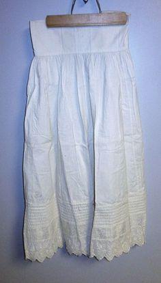 Cotton petticoat smocking on bottom Broderie Anglaise Victorian Edwardian era