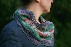 Kate Davies Designs - Betty Mouat CowlLovely cowl or wrap pattern This has been made using Shetland 4 ply (jumper weight). You could use Jamieson & Cowl Scarf, Knit Cowl, Knitted Shawls, Knit Crochet, Crochet Scarves, Fair Isle Knitting, Knitting Yarn, Kate Davies Designs, Lace Patterns
