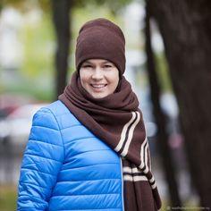 Купить Комплект вязаный шарф и шапка Горький шоколад в интернет магазине на Ярмарке Мастеров