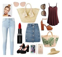 """""""Untitled #197"""" by meera-cx ❤ liked on Polyvore featuring Frame, Topshop, Tabitha Simmons, Giselle, Linda Farrow, Helen Kaminski, Free People and Smashbox"""