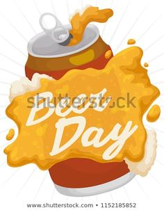 Poster with delicious beer spilled over the can and forming a greeting message for Beer Day celebration. Beer Day, Celebration, Royalty Free Stock Photos, Canning, Poster, Home Canning, Billboard, Conservation