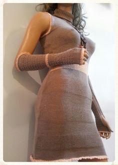 Homemade, knitting dress with gloves