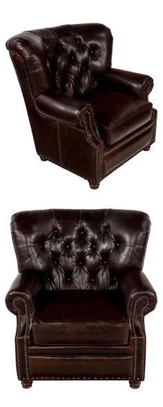 Who knew seating could look so handsome? Our Reginald Club Chair is made with cocoa-colored top grain leather and features nailhead trim, a tufted back, and birchwood bun feet. This rich piece is a lux...  Find the Reginald Club Chair, as seen in the 1920s Paris Collection at http://dotandbo.com/collections/1920-s-paris?utm_source=pinterest&utm_medium=organic&db_sku=119277