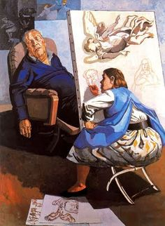Paula Rego #Portuguese painter. This image is different and makes you move slow and feel lazy or tired, because of the way the figures are positioned.