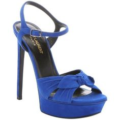 Saint Laurent Electric blue suede bow strap 'Bianca' platform sandals ($604) ❤ liked on Polyvore featuring shoes, sandals, heels, electric blue, ankle strap high heel sandals, suede sandals, platform shoes, open toe sandals and bow sandals
