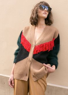"""Thick, Ribbed KnitCardigan w/Fringe Detail. Oversized Fit Wool Blend Body inDark Camel, Red & Black Angora Sleeves in Dark Green 70% Wool, 20%Angora, 10% Nylon 27"""" Length,21"""" Width Dry Clean Only Imported"""