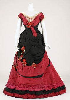 "Black and red silk ball gown (front), British, late 1870s. Label: ""Elise, 170 Regent St., London"""