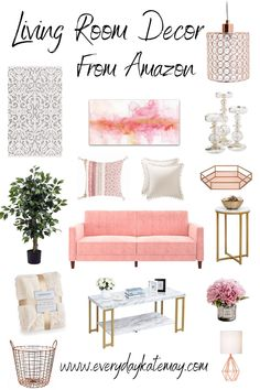 Looking for some home decor ideas for your living room? This chic modern collection for women is all available on Amazon. Whether you're looking for your apartment, your home, or just some new modern home decor, this post will show you everything you need! #homedecor #modern #pink #apartmentdecor Living Roon Decor, Living Room Furniture Arrangement, Chic Living Room, Rooms Home Decor, Rugs In Living Room, Room Decor, Pastel Home Decor, Living Room Flooring, Beautiful Living Rooms
