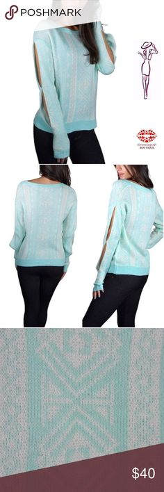 """Mint Cutout Sleeve Sweater Mint crew neck soft sweater with white delicate Aztec print. Fun cutout sleeves. 100% acrylic. Size M. Length: 23"""". Chest: 19"""". Very stretchy. Boutique Sweaters Crew & Scoop Necks"""