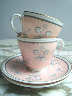 Vintage Dainty Wedgewood China Set of 2 Demitasse Cups and Saucers