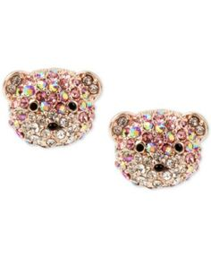 Betsey Johnson Rose Gold-Tone Glitter Bear Stud Earrings