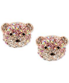 Betsey Johnson Rose Gold-Tone Glitter Bear Stud Earrings   macys.com