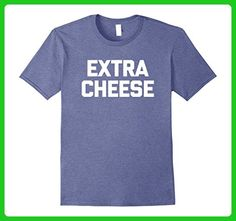 Mens Extra Cheese T-Shirt funny saying sarcastic novelty food 2XL Heather Blue - Food and drink shirts (*Amazon Partner-Link)