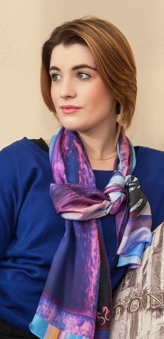 Crimson Sky silk scarf from Seahorse Silks worn long with a royal blue jumper & looks amazing.