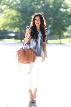 JUNE 23, 2015 Striped Chambray for the 4th - TOP: Madewell (more here) | DENIM: J Brand – more sizes available here (also love these under $100) | WEDGES: Steve Madden | BAG: Valentino (love this tan tote, too!) | SUNGLASSES: Karen Walker | NECKLACE: Love Always (3xl) | WATCH: Michael Kors | BRACELETS: BaubleBar, David Yurman | RING: Kendra Scott | LIPS: 'So Chaud'