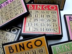 This would be cool as a wall hanging too / Bingo Card Drink Coaster Set - Etsy