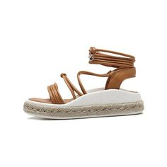 Tie Up Espadrilles Faux Leather Sandals Light Brown (135 BRL) ❤ liked on Polyvore featuring shoes, sandals, vegan leather shoes, synthetic leather shoes, tie espadrilles, light brown shoes and vegan footwear