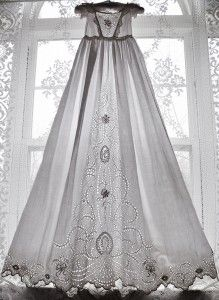 A christening gown, hand stitched from the mid 1800s.  A broderie anglaise wedding gown like this would be divine.
