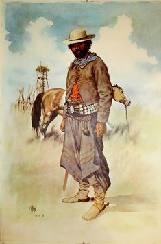 Gaucho, with original Argentina print Rio Grande Do Sul, Cowboy Photography, Argentine, American Gods, Spanish Artists, Le Far West, Character Costumes, Illustrations, Character Illustration