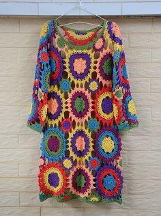 Long Sleeve Boho Gypsy Crochet Dress by on Etsy Crochet Jumper, Crochet Coat, Crochet Clothes, Gypsy Dresses, Boho Dress, Boho Gypsy, Boho Hippie, Gypsy Crochet, Crochet Fashion