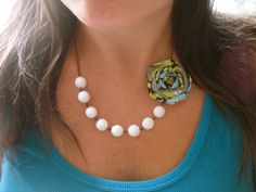 Exotic Hideaway fabric flower necklace by HappyLittleLovelies, $26.00