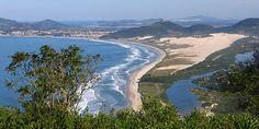 The beach and dunes of Praia do Siriu, near Altos de Garopaba, Florianopolis, Brazil