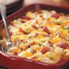 Twice-Baked Potato Casserole Recipe Recipe Side Dishes with red potato, salt, pepper, bacon, sour cream, shredded mozzarella cheese, shredded cheddar cheese, sliced green onions