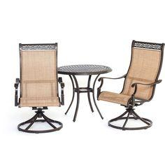 Hanover Manor 3-piece Bistro Set (3 piece), Brown, Patio Furniture (Aluminum)