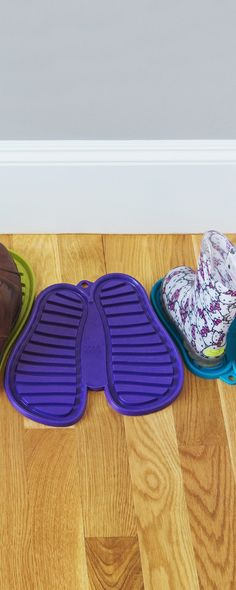 These eye-catching shoe mats, discovered by The Grommet, make you want to stay tidy. Their deep, flexible grooves catch water and mud, keeping your house clean.