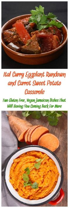 You can't go wrong with gluten free, vegan Jamaican food! Ital Curry Eggplant Rundown is a hearty dish that pairs well with carrot sweet potato casserole. Gluten Free Sides Dishes, Vegan Main Dishes, Gluten Free Recipes For Dinner, Healthy Dinner Recipes, Real Food Recipes, Vegetarian Recipes, Curry Recipes, Food Tips, Appetizer Recipes