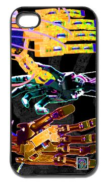 """""""RoboHands""""(c) on an iPhone cover.  (c) 2013 Textiles for Thinkers, LLC.  All Rights Reserved."""